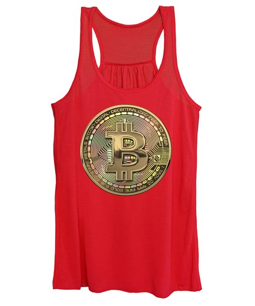 Gold Bitcoin Effigy Over Red Canvas Women's Tank Top