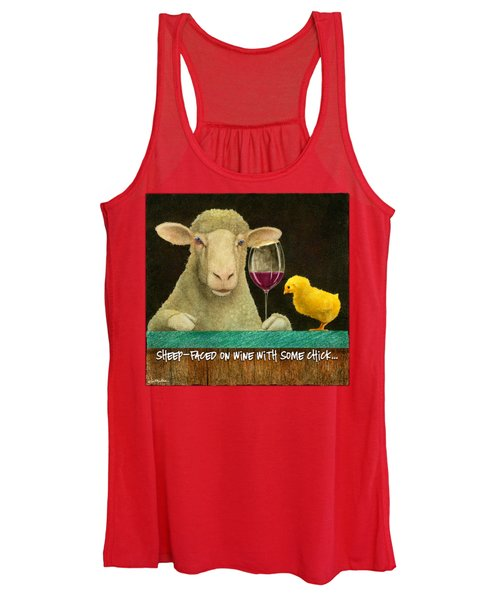 Sheep Faced On Wine With Some Chick... Women's Tank Top