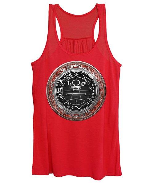 Silver Seal Of Solomon - Lesser Key Of Solomon On Red Velvet  Women's Tank Top