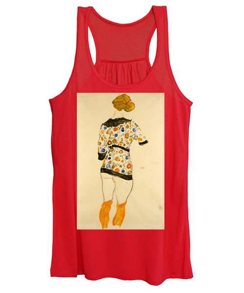 Standing Woman In A Patterned Blouse Women's Tank Top