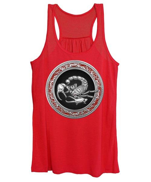 Treasure Trove - Sacred Silver Scorpion On Red Women's Tank Top