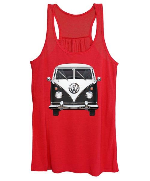 Volkswagen Type 2 - Black And White Volkswagen T 1 Samba Bus On Red  Women's Tank Top