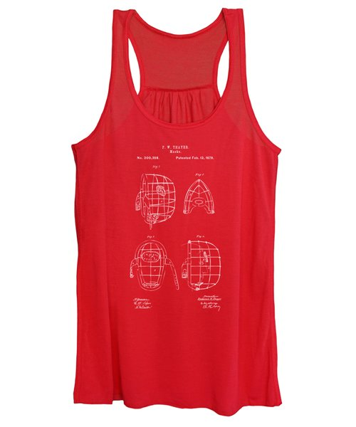 1878 Baseball Catchers Mask Patent - Red Women's Tank Top