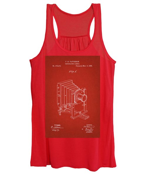 1888 Camera Us Patent Invention Drawing - Red Women's Tank Top