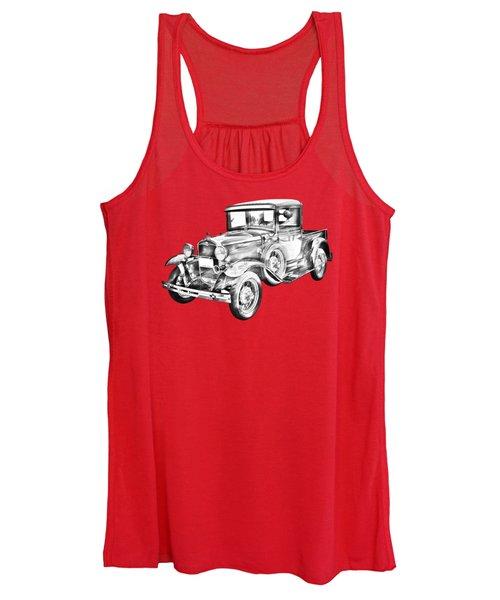 1930 Model A Ford Pickup Truck IIlustration Women's Tank Top