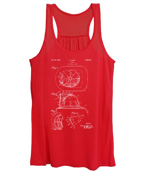 1932 Fireman Helmet Artwork Red Women's Tank Top