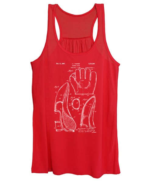 1941 Baseball Glove Patent - Red Women's Tank Top