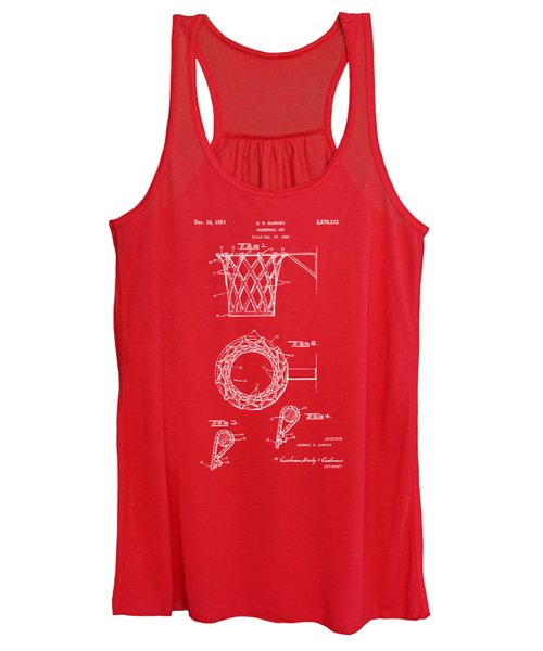 1951 Basketball Net Patent Artwork - Red Women's Tank Top