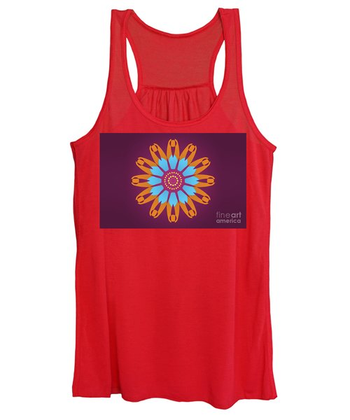 Landscape Purple Back And Abstract Orange And Blue Star Women's Tank Top