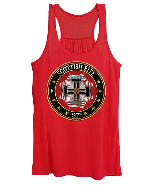 27th Degree - Knight Of The Sun Or Prince Adept Jewel On Red Leather Women's Tank Top