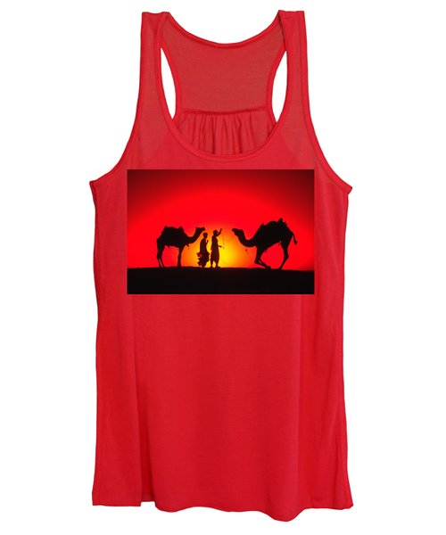 Camels At Sunset Women's Tank Top