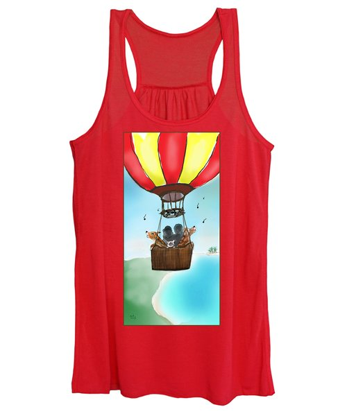 3 Dogs Singing In A Hot Air Balloon Women's Tank Top