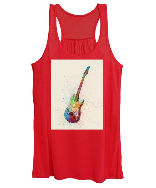 Electric Guitar Abstract Watercolor Women's Tank Top