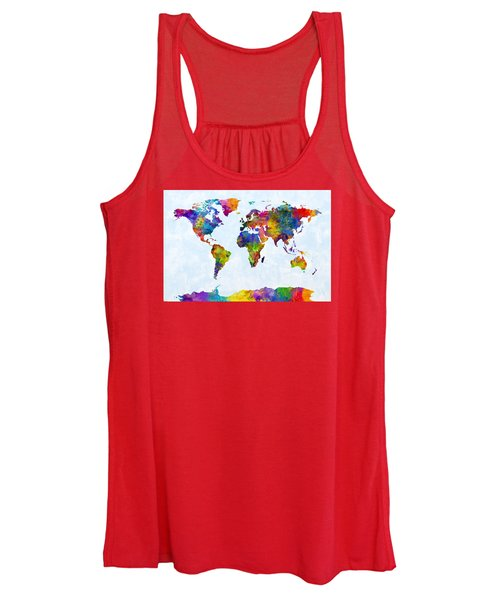 Watercolor Map Of The World Map Women's Tank Top
