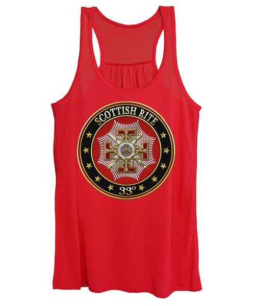 33rd Degree - Inspector General Jewel On Red Leather Women's Tank Top
