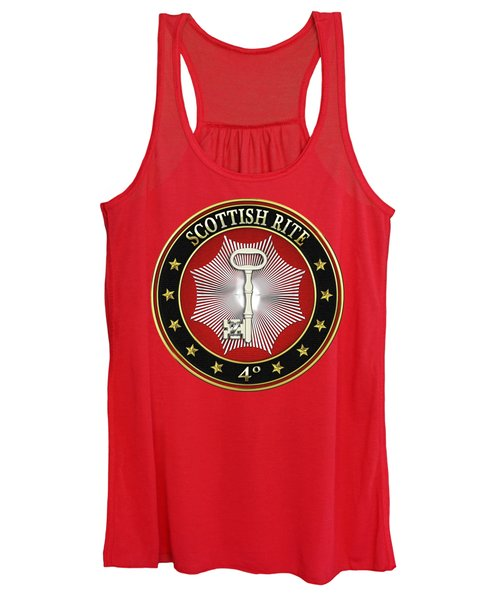 4th Degree - Secret Master Or Master Traveler Jewel On Red Leather Women's Tank Top