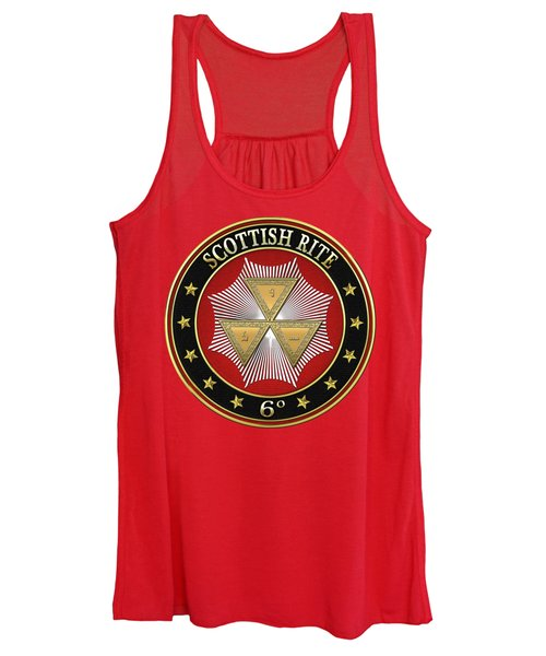 6th Degree - Intimate Secretary Jewel On Red Leather Women's Tank Top