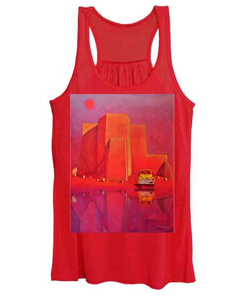 A Yellow Truck With A Red Moon In Ranchos Women's Tank Top