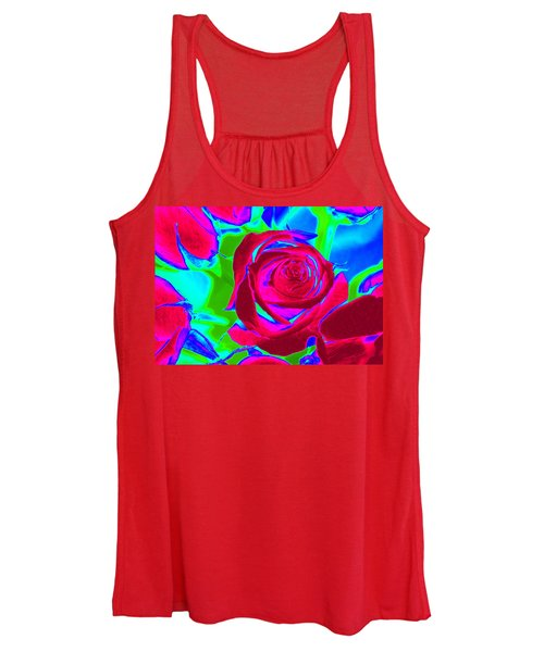 Burgundy Rose Abstract Women's Tank Top