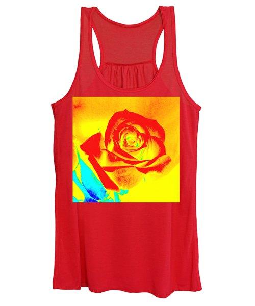 Single Orange Rose Abstract Women's Tank Top