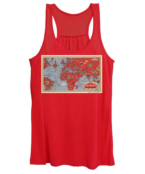 Air France - Vintage Illustrated Map Of The World By Lucien Boucher - Cartography Women's Tank Top