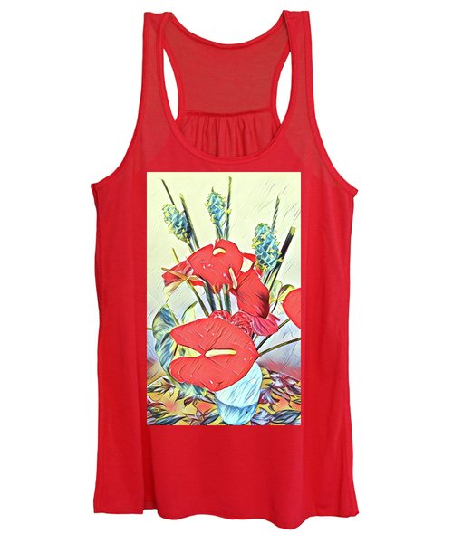 Aloha Bouquet Of The Day - Anthuriums And Green Ginger In Blue Women's Tank Top