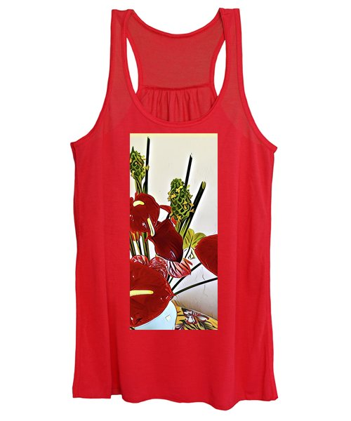 Aloha Bouquet Of The Day - Anthuriums In Darkl Red With Green Ginger - A Portion Women's Tank Top