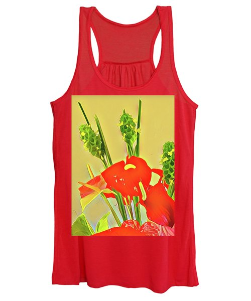 Aloha Bouquet Of The Day -- Red Anthuriums With Green Ginger, A Portion  Women's Tank Top