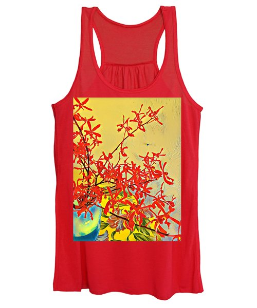 Aloha Bouquet Of The Day -- Red Orchids In Blue Vse Women's Tank Top