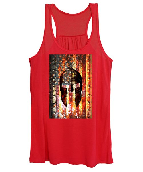 American Flag And Spartan Helmet On Rusted Metal Door - Molon Labe Women's Tank Top