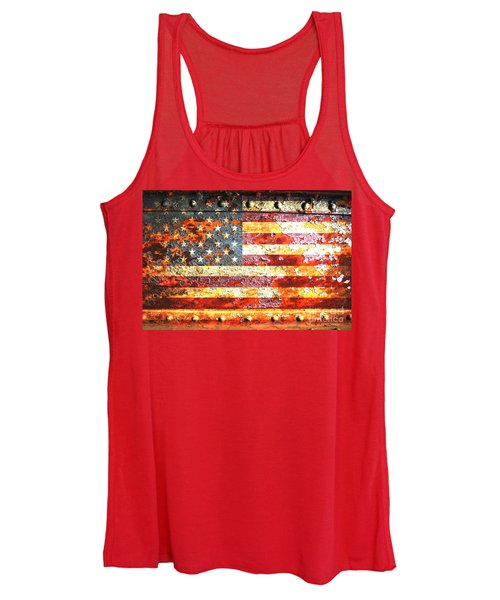 American Flag On Rusted Riveted Metal Door Women's Tank Top
