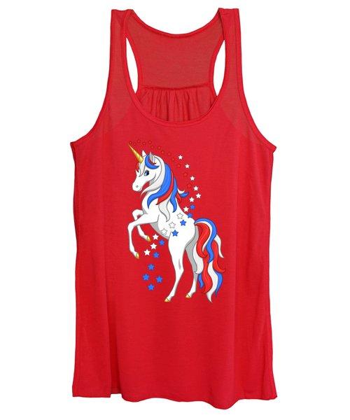 American Flag Patriotic Unicorn Women's Tank Top