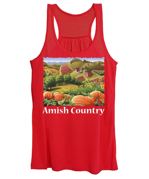 Amish Country T Shirt - Appalachian Pumpkin Patch Country Farm Landscape 2 Women's Tank Top