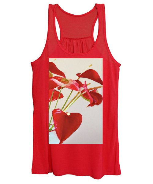 Anthurium Fragments In Red Women's Tank Top
