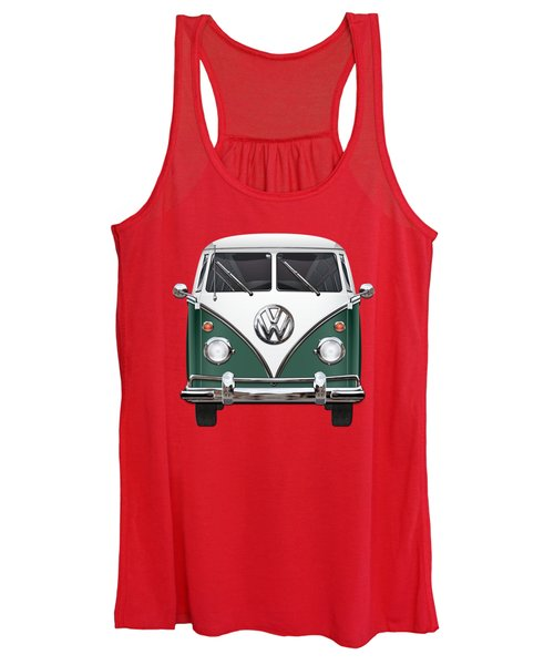 Volkswagen Type 2 - Green And White Volkswagen T 1 Samba Bus Over Red Canvas  Women's Tank Top