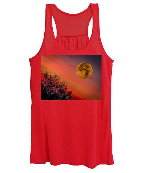 Women's Tank Top featuring the photograph Autumn Super Moon And Irish Sunrise by James Truett