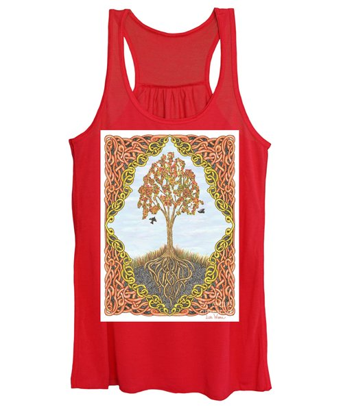 Autumn Tree With Knotted Roots And Knotted Border Women's Tank Top