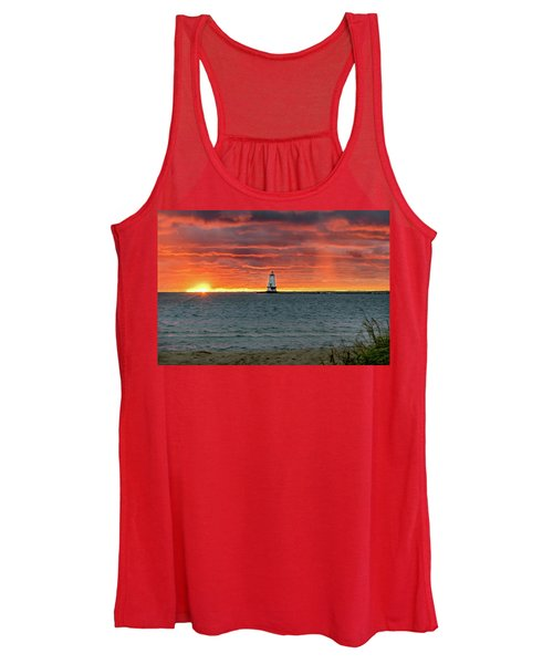 Awesome Sunset With Lighthouse  Women's Tank Top