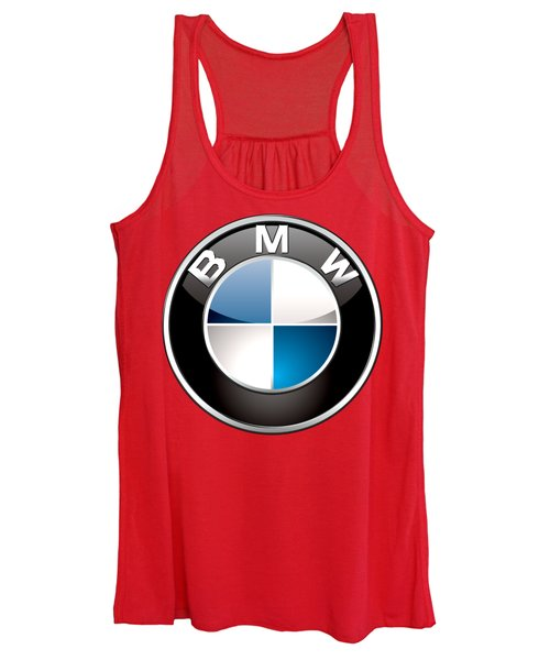 B M W Badge On Red  Women's Tank Top