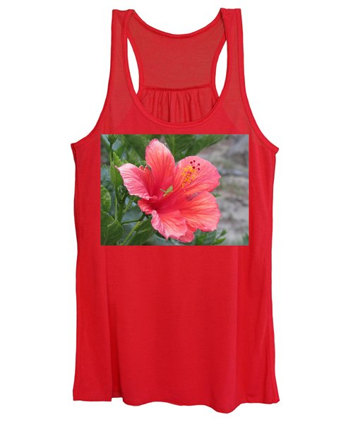 Women's Tank Top featuring the photograph Baby Grasshopper On Hibiscus Flower by Nancy Nale