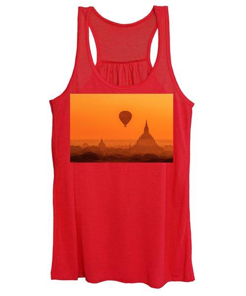 Bagan Pagodas And Hot Air Balloon Women's Tank Top