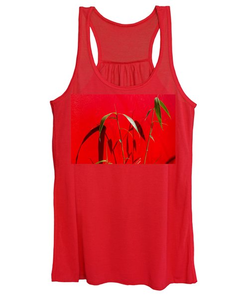 Bamboo Against Red Wall Women's Tank Top
