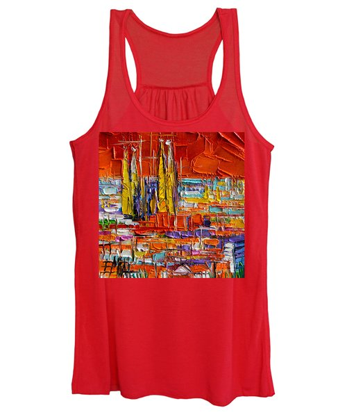 Barcelona Sagrada Familia View From Parc Guell Abstract Palette Knife Oil Painting Women's Tank Top