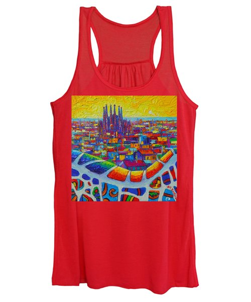 Barcelona View Sagrada From Park Guell Impressionist Abstract City Knife Painting Ana Maria Edulescu Women's Tank Top