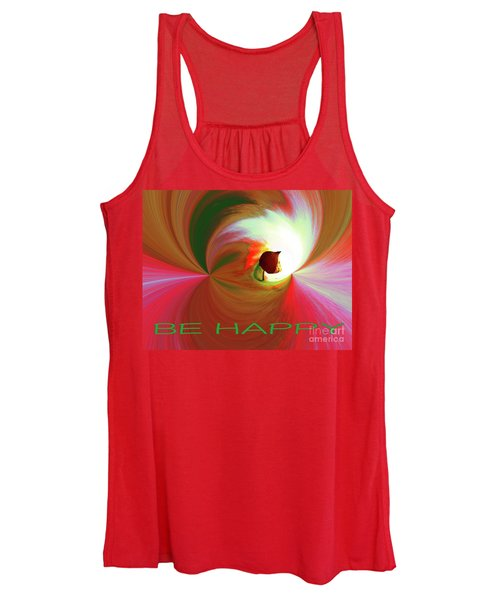 Be Happy, Red-rose With Physalis Women's Tank Top