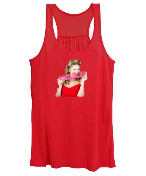 Beauty Salon Pinup Girl Smiling With Haircare Comb Women's Tank Top