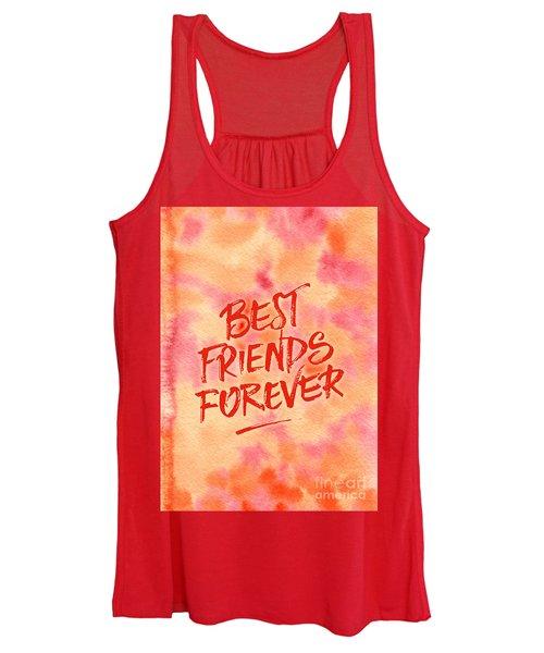 Best Friends Forever Handpainted Abstract Watercolor Pink Orange Women's Tank Top