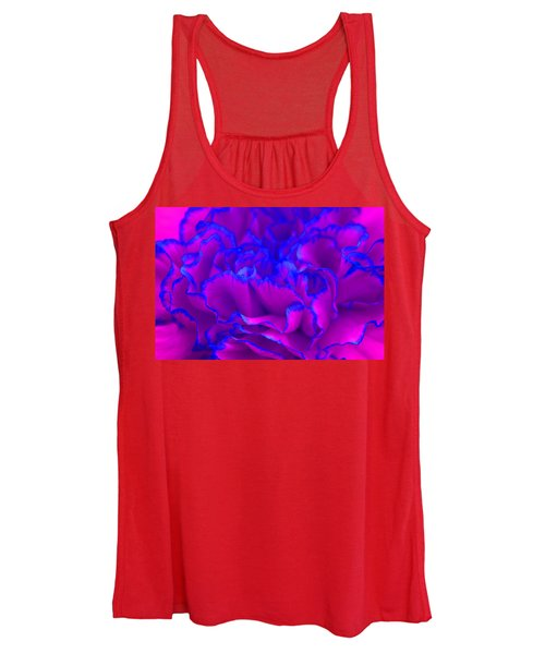 Bold Fuschia Pink And Blue Carnation Flower Women's Tank Top