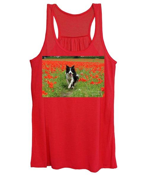 Border Collie In Poppy Field Women's Tank Top