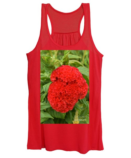 Bright Red Cockscomb Women's Tank Top